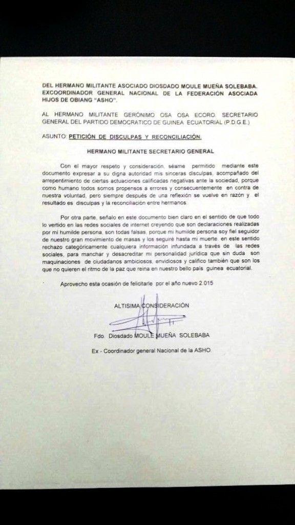 Diosdado Moule Mueña pide disculpas