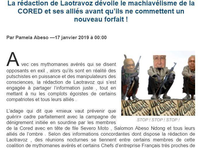 La redacción de LAOTRAVOZ revela nuevas maquinaciones de CORED y sus aliados contra Guinea Ecuatorial