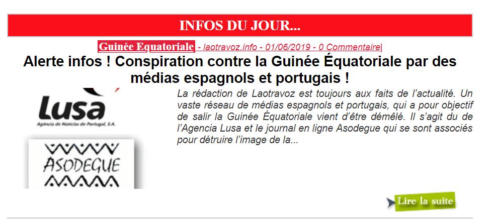Laotravoz.info revela una conspiración mediática contra Guinea Ecuatorial
